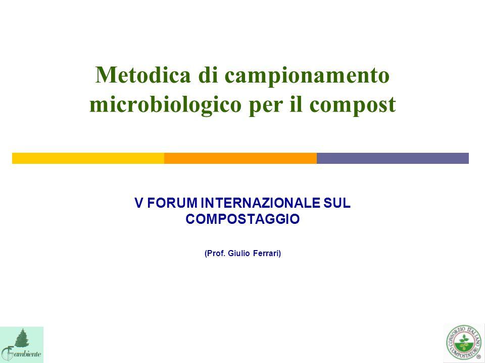 Metodica di campionamento microbiologico per il compost V FORUM INTERNAZIONALE SUL COMPOSTAGGIO (Prof. Giulio Ferrari)