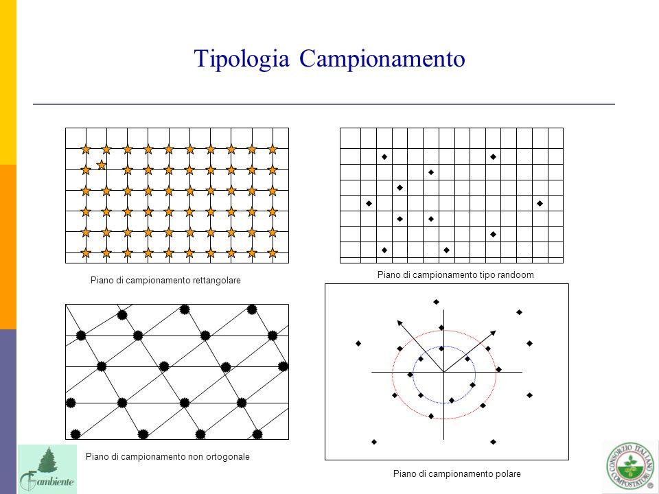 Tipologia Campionamento Piano di campionamento rettangolare Piano di campionamento non ortogonale Piano di campionamento tipo randoom Piano di campion