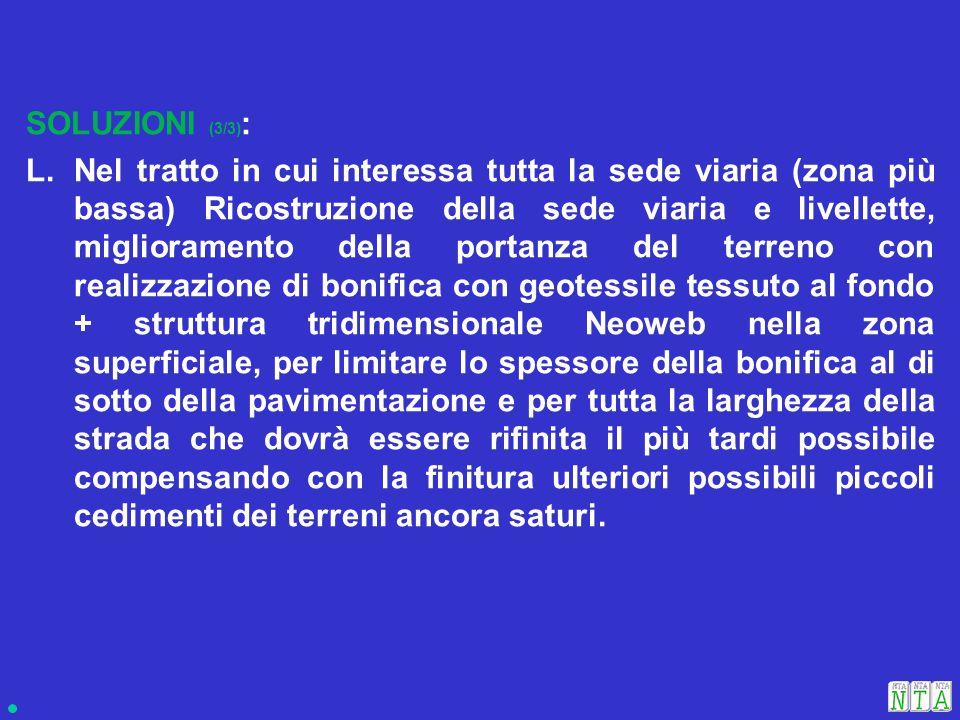 SOLUZIONI (3/3) : L.Nel tratto in cui interessa tutta la sede viaria (zona più bassa) Ricostruzione della sede viaria e livellette, miglioramento dell