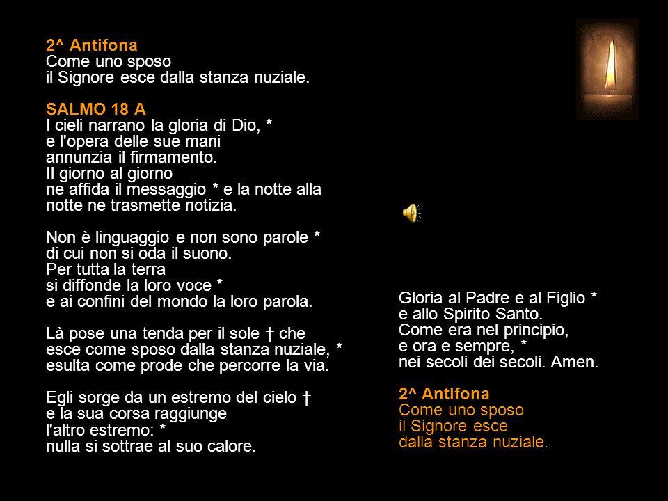 2^ Antifona Come uno sposo il Signore esce dalla stanza nuziale.