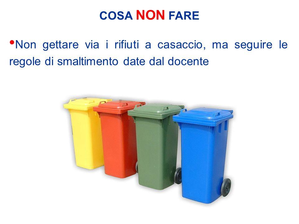COSA NON FARE Non gettare via i rifiuti a casaccio, ma seguire le regole di smaltimento date dal docente
