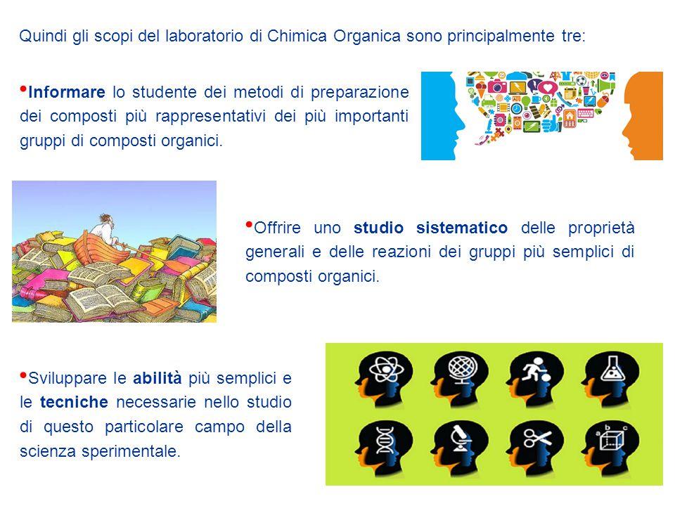Quindi gli scopi del laboratorio di Chimica Organica sono principalmente tre: Informare lo studente dei metodi di preparazione dei composti più rappre