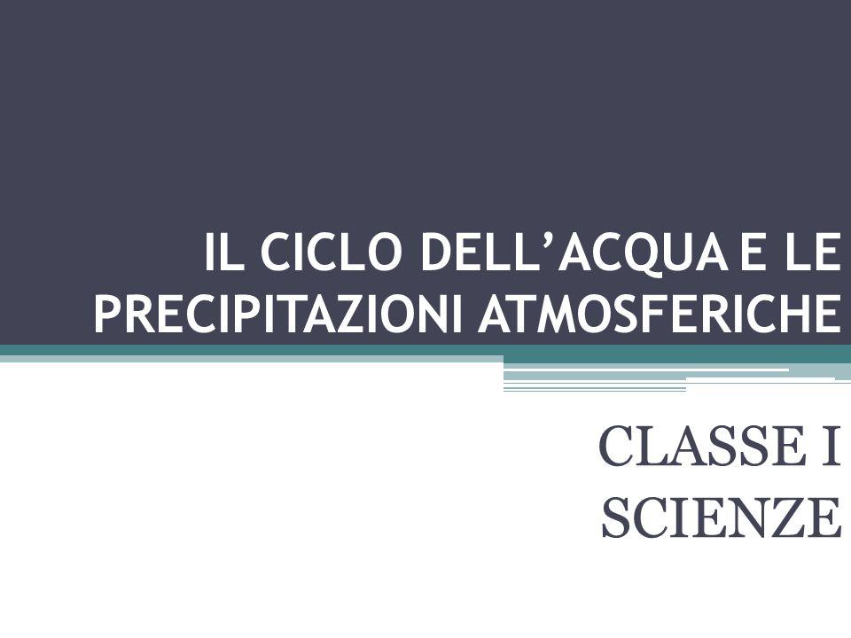 IL CICLO DELL'ACQUA E LE PRECIPITAZIONI ATMOSFERICHE CLASSE I SCIENZE