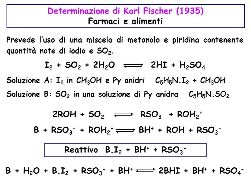 Determinazione di Karl Fischer (1935) Farmaci e alimenti Prevede l'uso di una miscela di metanolo e piridina contenente quantità note di iodio e SO 2.