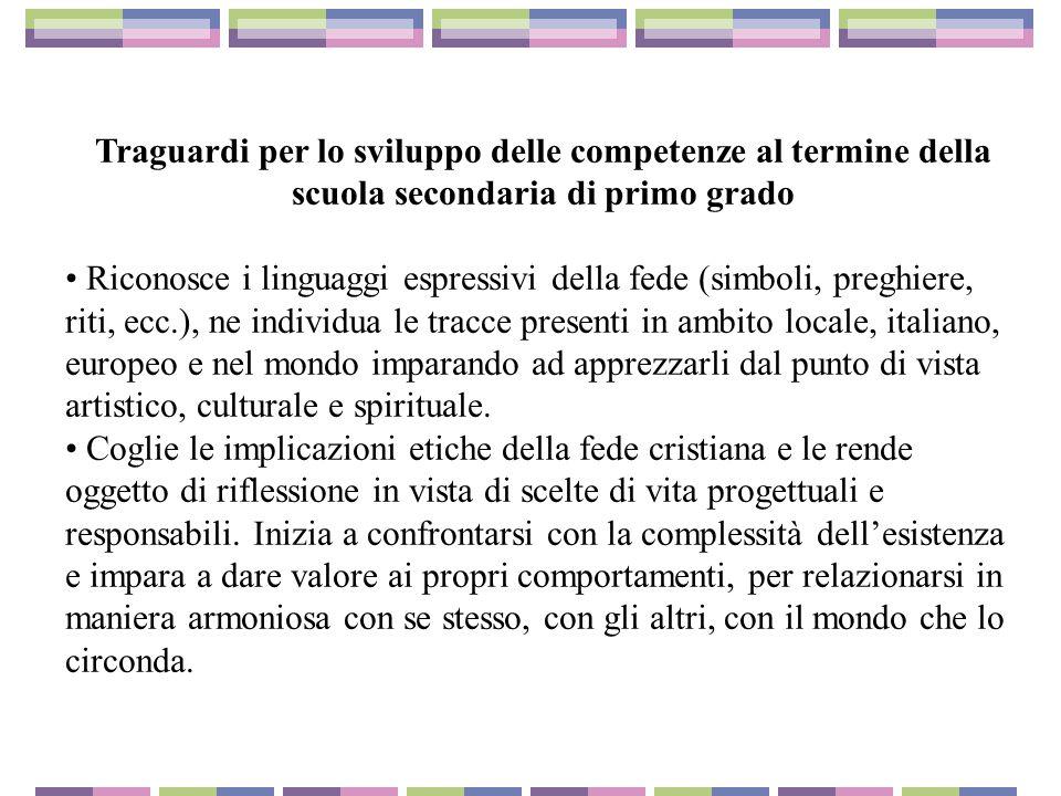 Traguardi per lo sviluppo delle competenze al termine della scuola secondaria di primo grado Riconosce i linguaggi espressivi della fede (simboli, pre