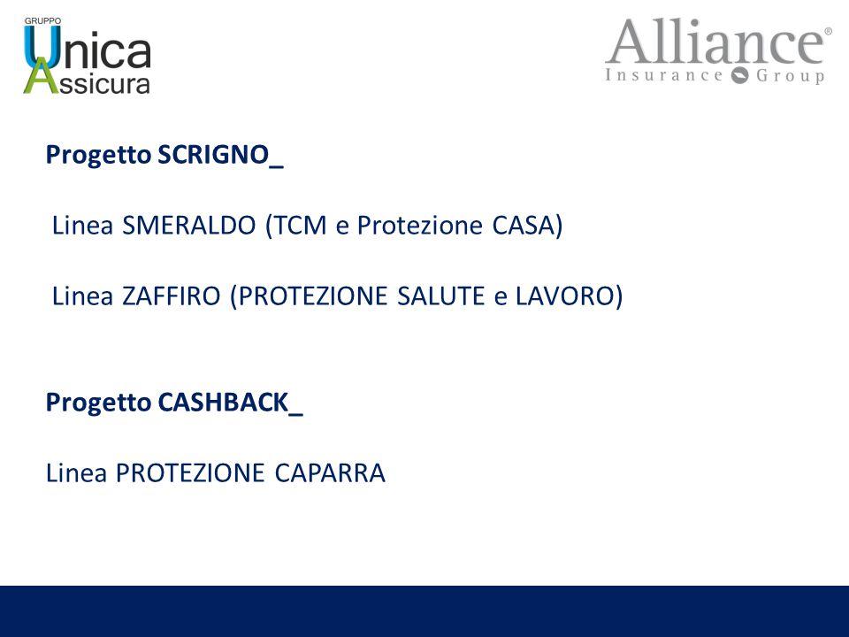 Progetto SCRIGNO_ Linea SMERALDO (TCM e Protezione CASA) Linea ZAFFIRO (PROTEZIONE SALUTE e LAVORO) Progetto CASHBACK_ Linea PROTEZIONE CAPARRA
