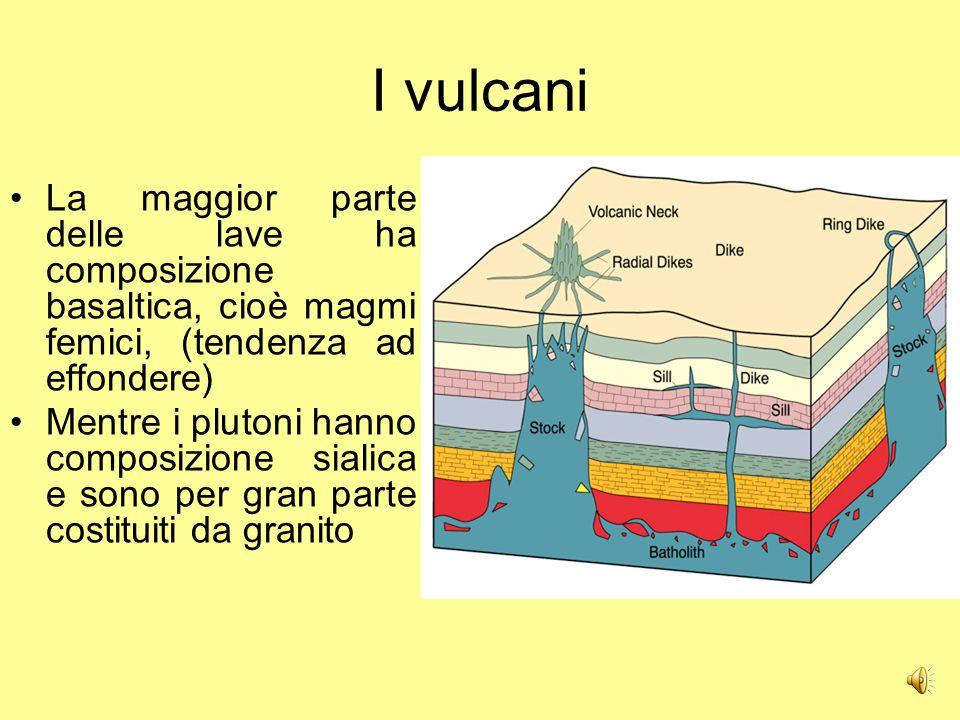 I vulcani Il punto di fusione del magma sialico è relativamente basso rispetto a quanto prevedibile: risalendo perde il vapor d'acqua e aumenta il punto di fusione, così può facilmente solidificare nelle viscere della terra.