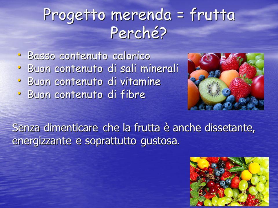 Progetto merenda = frutta Perché.
