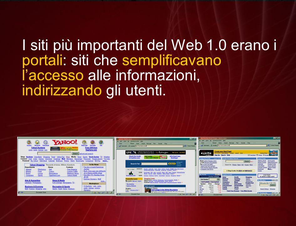 I siti più importanti del Web 1.0 erano i portali: siti che semplificavano l'accesso alle informazioni, indirizzando gli utenti.