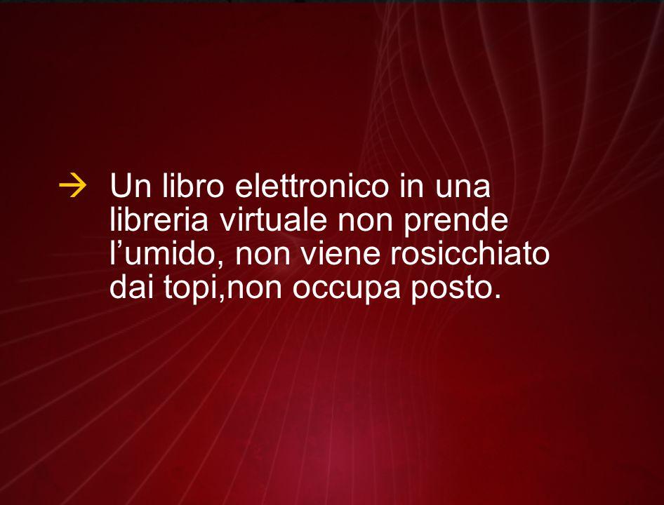  Un libro elettronico in una libreria virtuale non prende l'umido, non viene rosicchiato dai topi,non occupa posto.