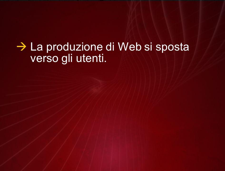  La produzione di Web si sposta verso gli utenti.