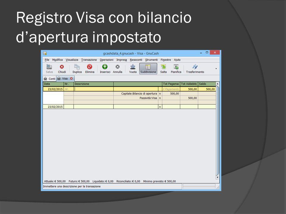 Registro Visa con bilancio d'apertura impostato