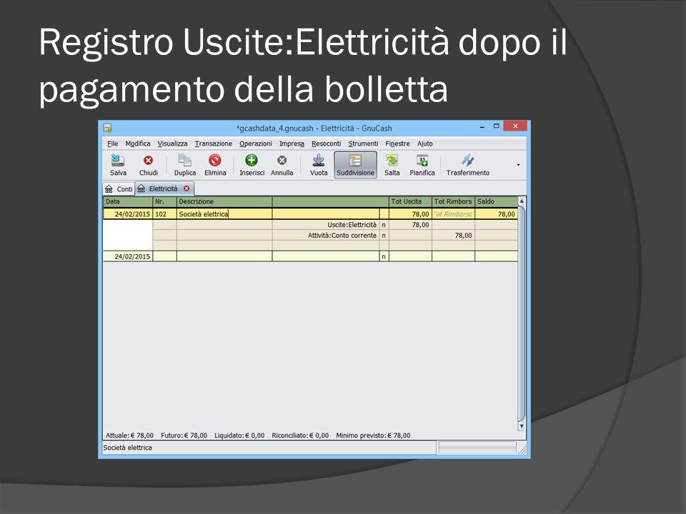 Registro Uscite:Elettricità dopo il pagamento della bolletta