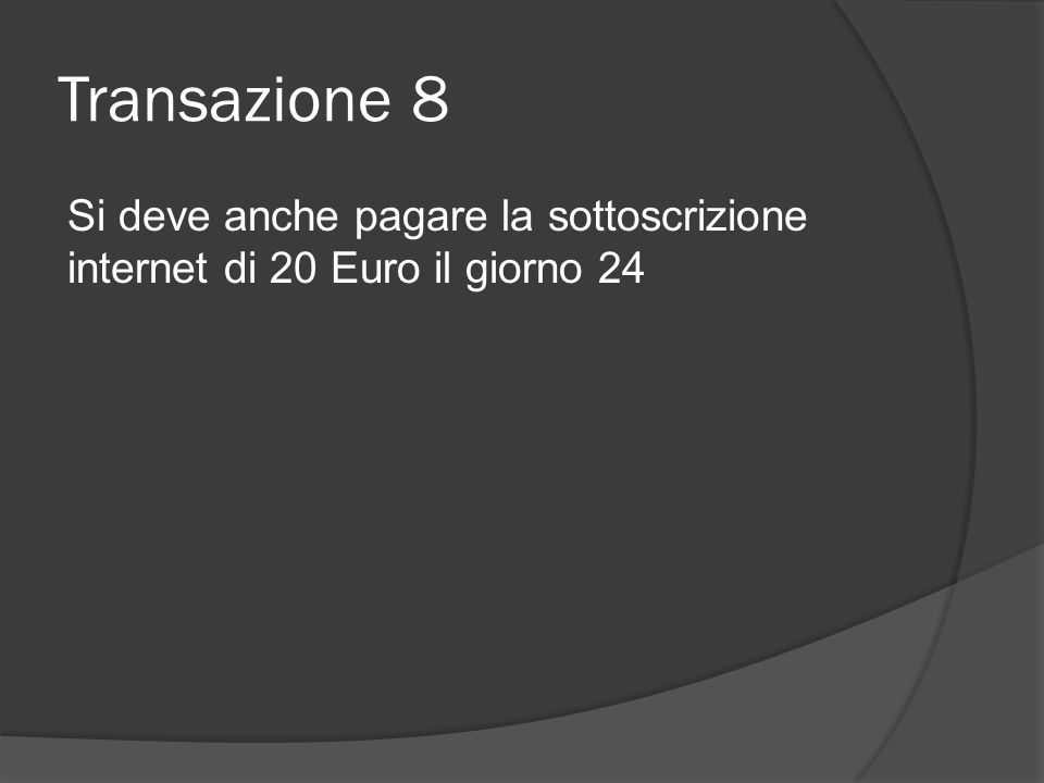 Transazione 8 Si deve anche pagare la sottoscrizione internet di 20 Euro il giorno 24