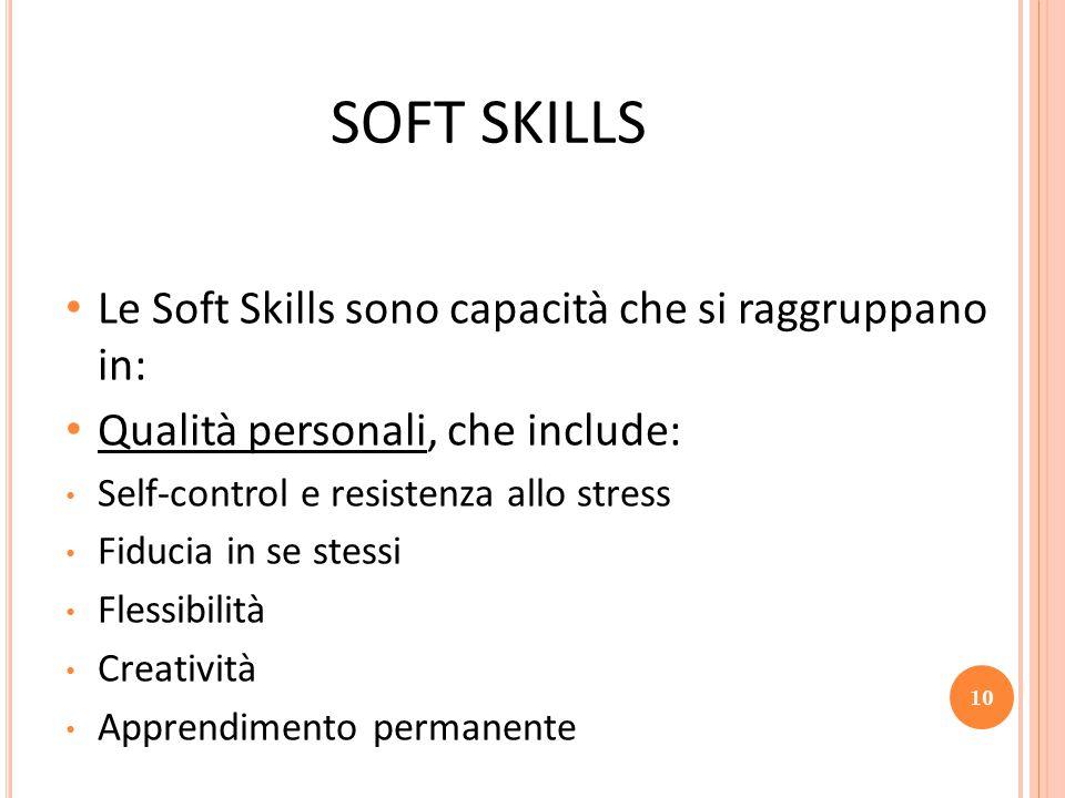 SOFT SKILLS Le Soft Skills sono capacità che si raggruppano in: Qualità personali, che include: Self-control e resistenza allo stress Fiducia in se stessi Flessibilità Creatività Apprendimento permanente 10