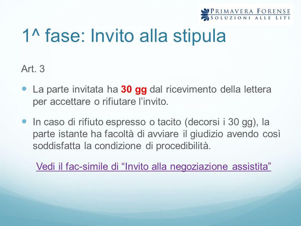 1^ fase: Invito alla stipula Art. 3 L a parte invitata ha 30 gg dal ricevimento della lettera per accettare o rifiutare l'invito. I n caso di rifiuto