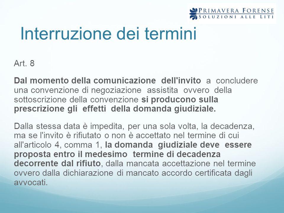 Interruzione dei termini Art. 8 Dal momento della comunicazione dell'invito a concludere una convenzione di negoziazione assistita ovvero della sottos