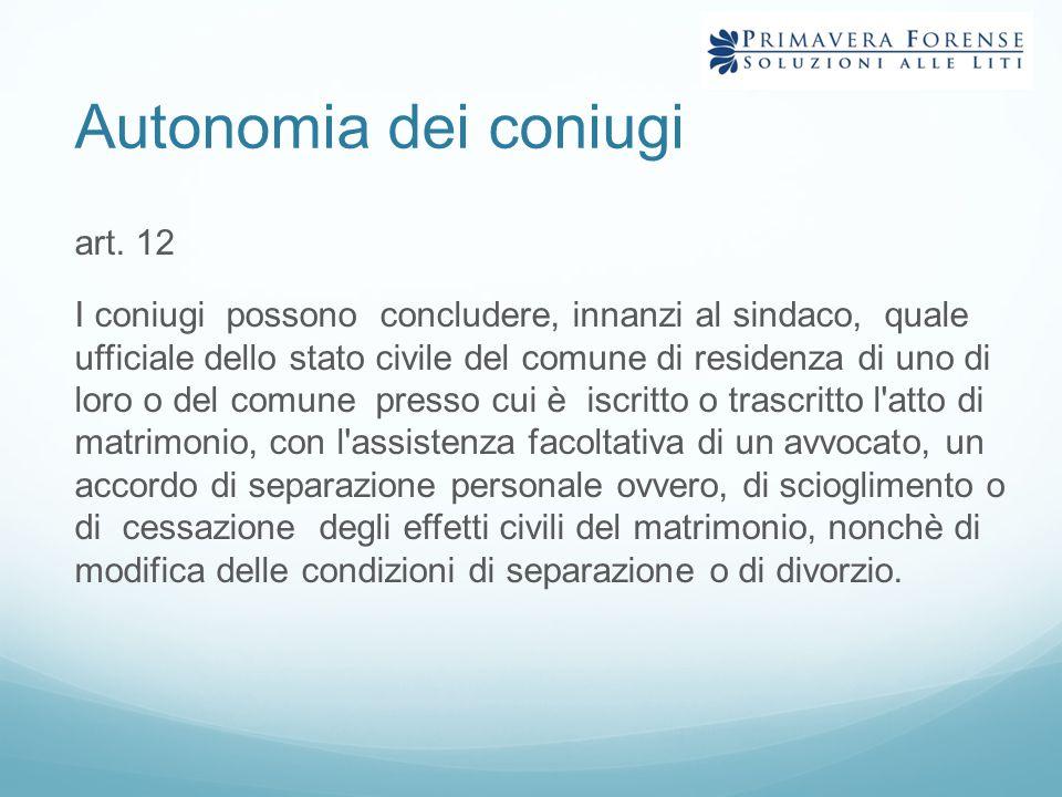 Autonomia dei coniugi art. 12 I coniugi possono concludere, innanzi al sindaco, quale ufficiale dello stato civile del comune di residenza di uno di l