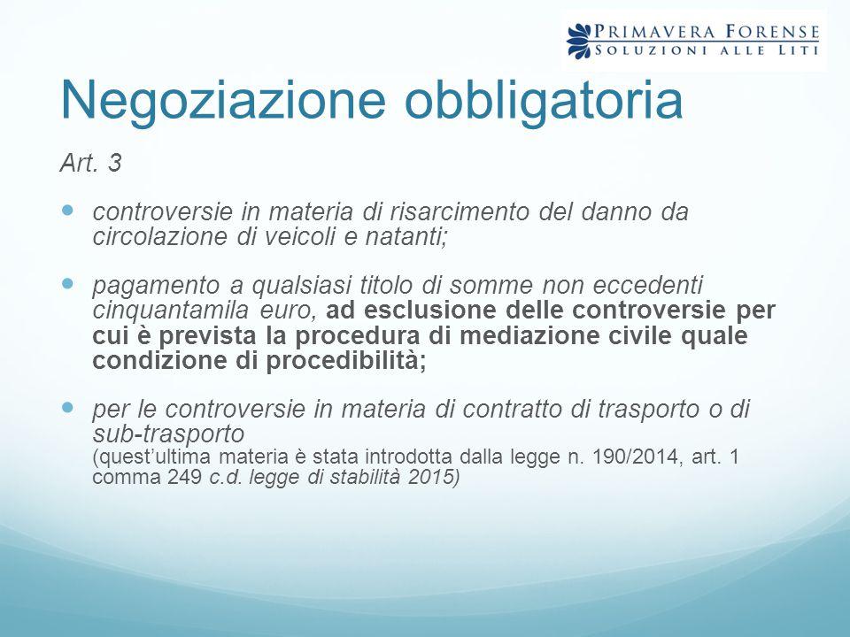 Negoziazione obbligatoria Art. 3 controversie in materia di risarcimento del danno da circolazione di veicoli e natanti; pagamento a qualsiasi titolo