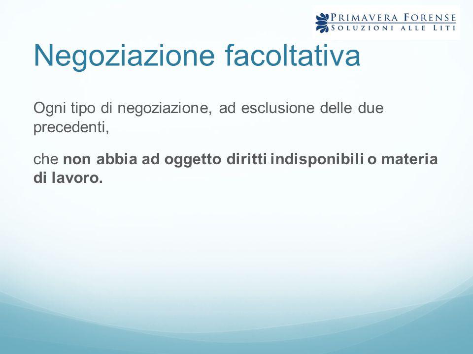 Negoziazione facoltativa Ogni tipo di negoziazione, ad esclusione delle due precedenti, che non abbia ad oggetto diritti indisponibili o materia di la