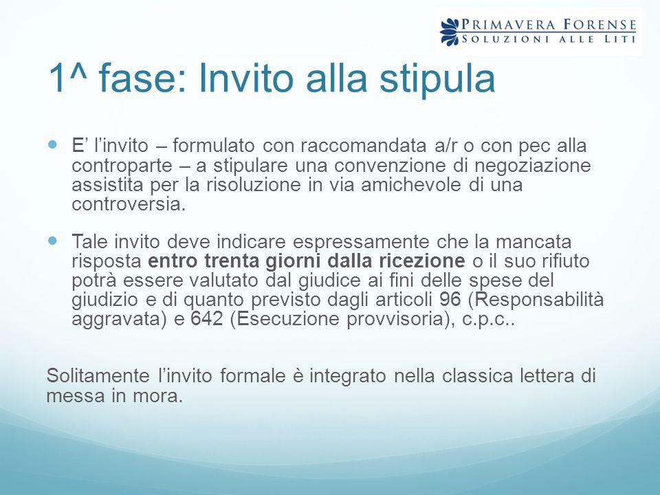 1^ fase: Invito alla stipula E' l'invito – formulato con raccomandata a/r o con pec alla controparte – a stipulare una convenzione di negoziazione ass