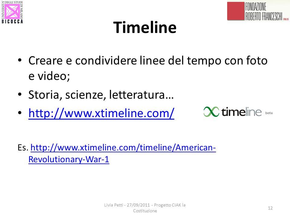 Timeline Creare e condividere linee del tempo con foto e video; Storia, scienze, letteratura… http://www.xtimeline.com/ Es.