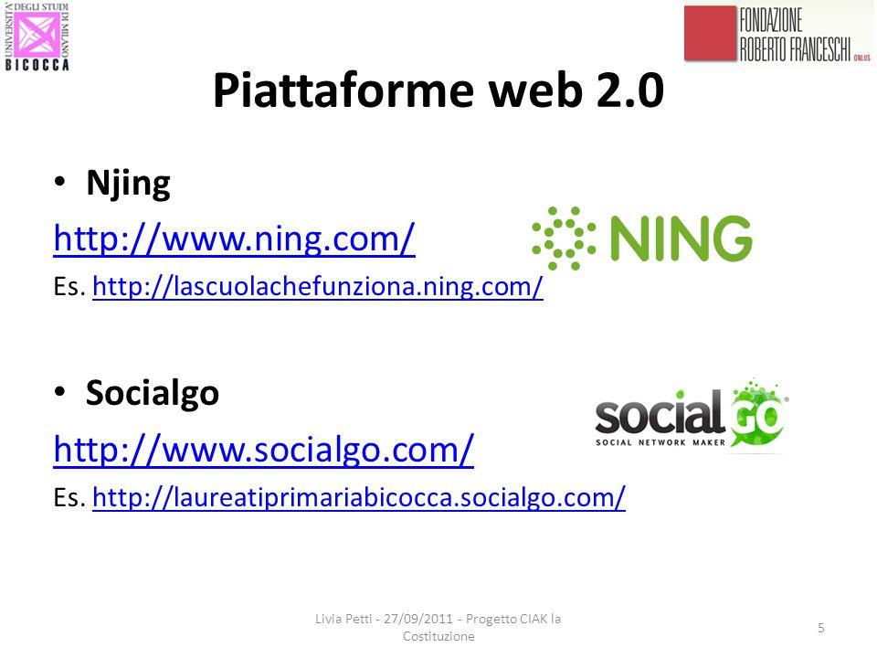 Piattaforme web 2.0 Njing http://www.ning.com/ Es.
