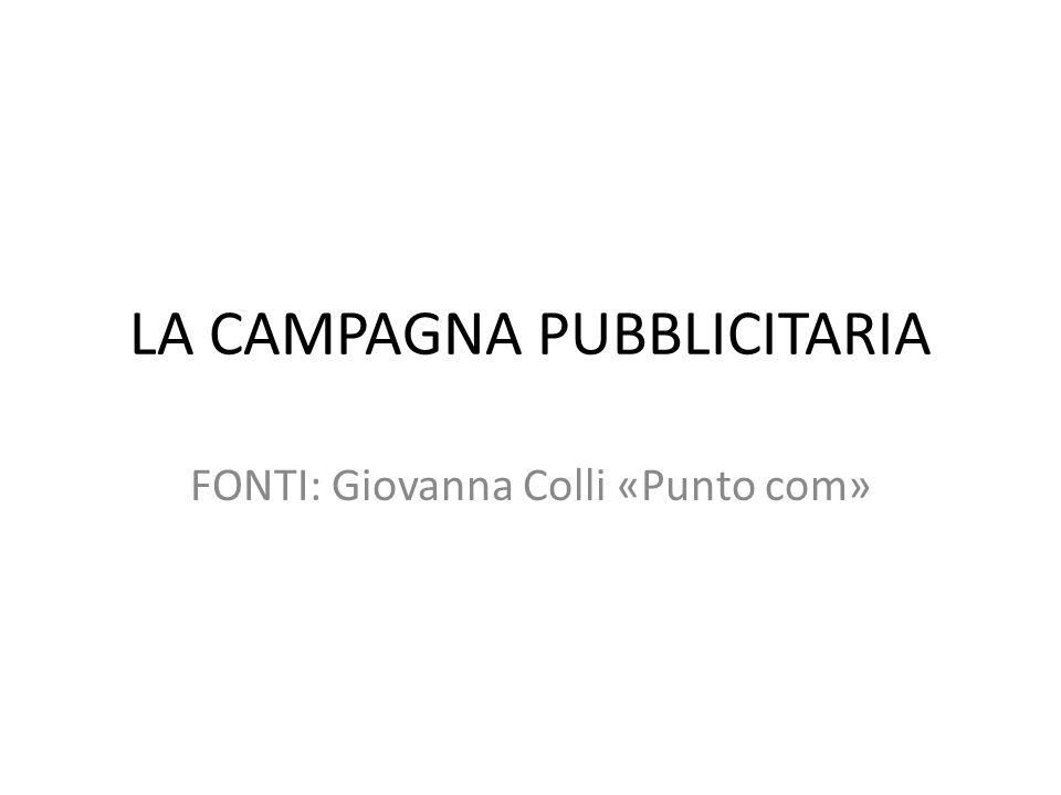 LA CAMPAGNA PUBBLICITARIA FONTI: Giovanna Colli «Punto com»