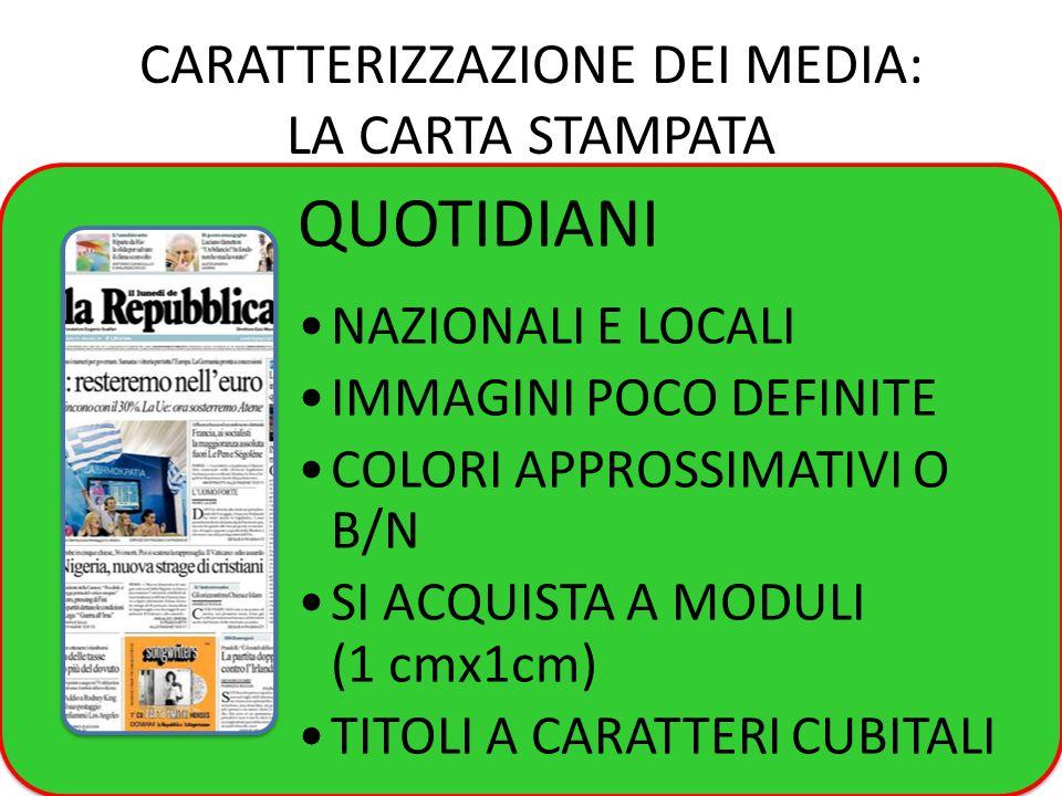 CARATTERIZZAZIONE DEI MEDIA: LA CARTA STAMPATA QUOTIDIANI NAZIONALI E LOCALI IMMAGINI POCO DEFINITE COLORI APPROSSIMATIVI O B/N SI ACQUISTA A MODULI (1 cmx1cm) TITOLI A CARATTERI CUBITALI