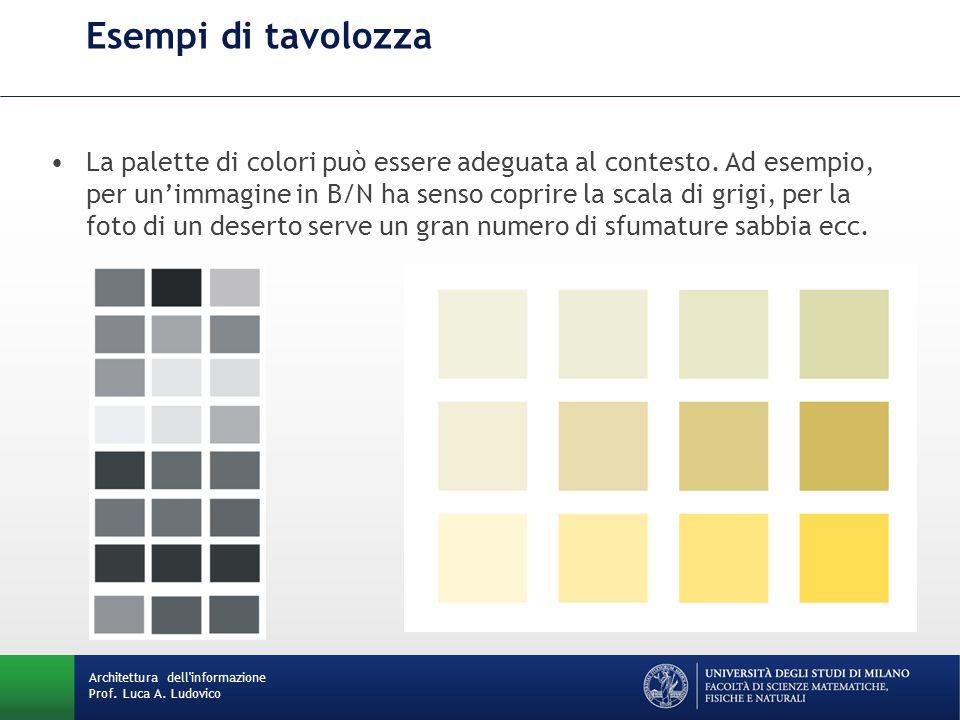 La palette di colori può essere adeguata al contesto. Ad esempio, per un'immagine in B/N ha senso coprire la scala di grigi, per la foto di un deserto
