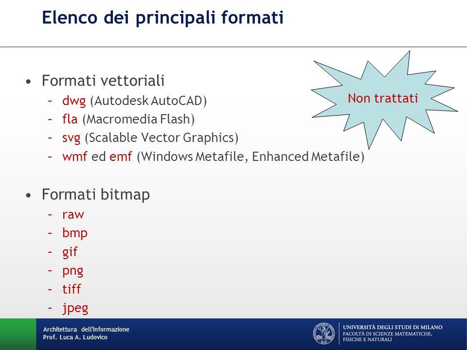 Formati vettoriali –dwg (Autodesk AutoCAD) –fla (Macromedia Flash) –svg (Scalable Vector Graphics) –wmf ed emf (Windows Metafile, Enhanced Metafile) F