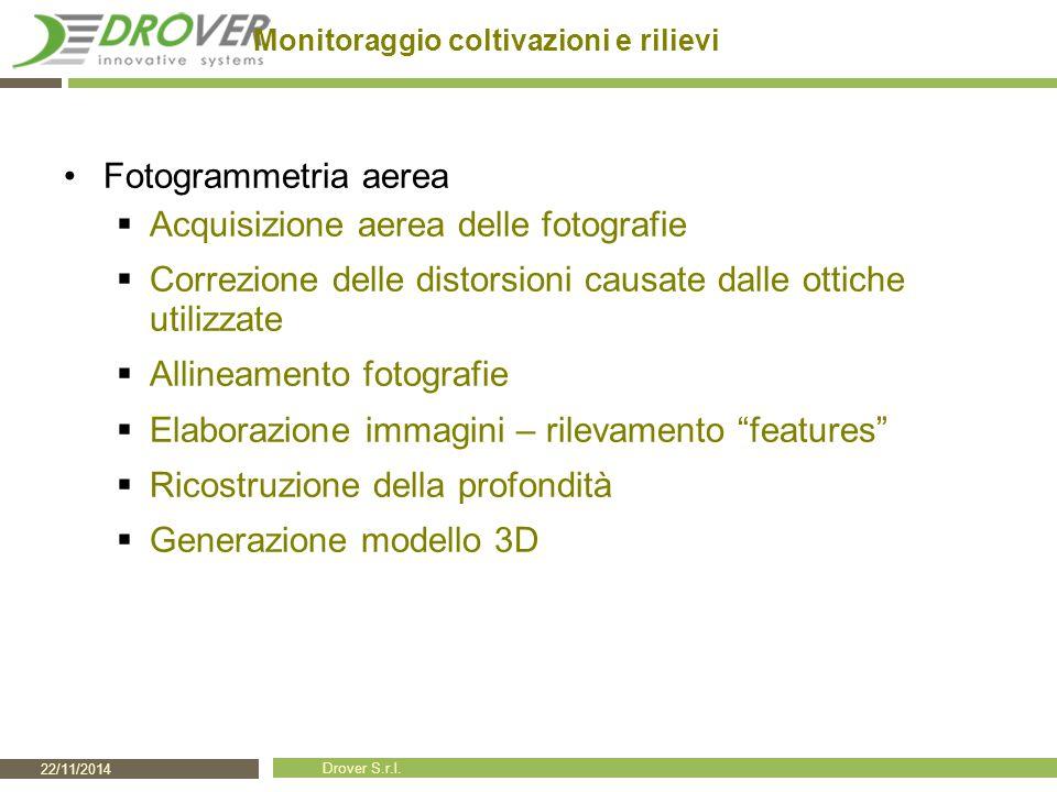 22/11/2014 Drover S.r.l. Monitoraggio coltivazioni e rilievi Fotogrammetria aerea  Acquisizione aerea delle fotografie  Correzione delle distorsioni
