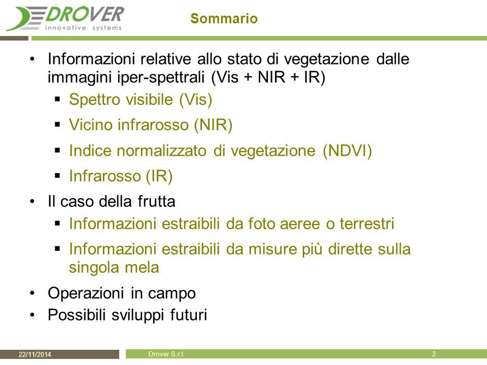 22/11/2014 Drover S.r.l. Sommario Informazioni relative allo stato di vegetazione dalle immagini iper-spettrali (Vis + NIR + IR)  Spettro visibile (V