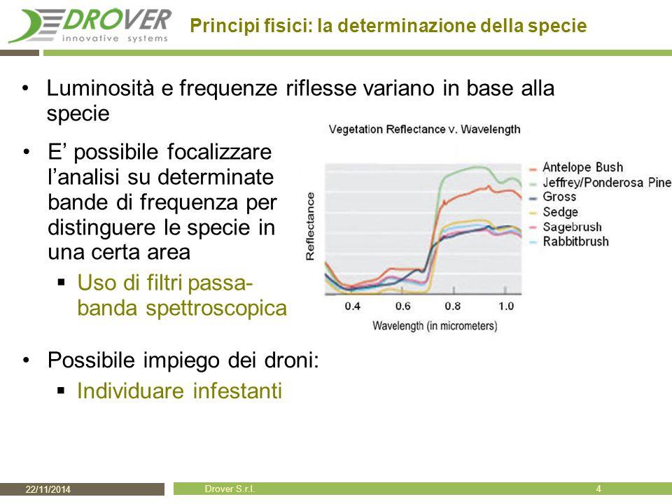 22/11/2014 Drover S.r.l. Principi fisici: la determinazione della specie E' possibile focalizzare l'analisi su determinate bande di frequenza per dist