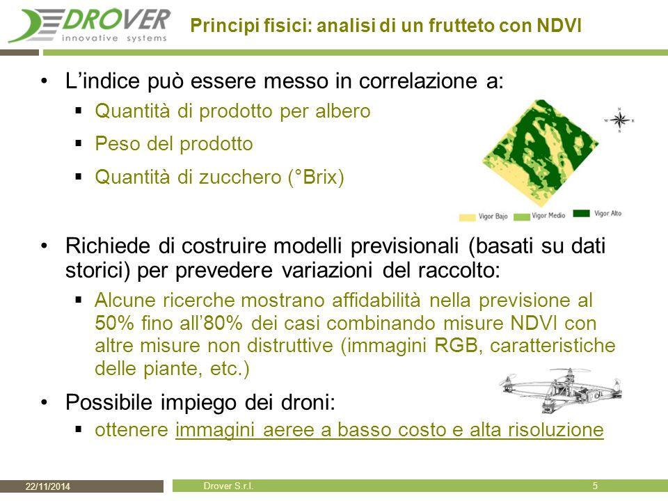 22/11/2014 Drover S.r.l. Principi fisici: analisi di un frutteto con NDVI L'indice può essere messo in correlazione a:  Quantità di prodotto per albe
