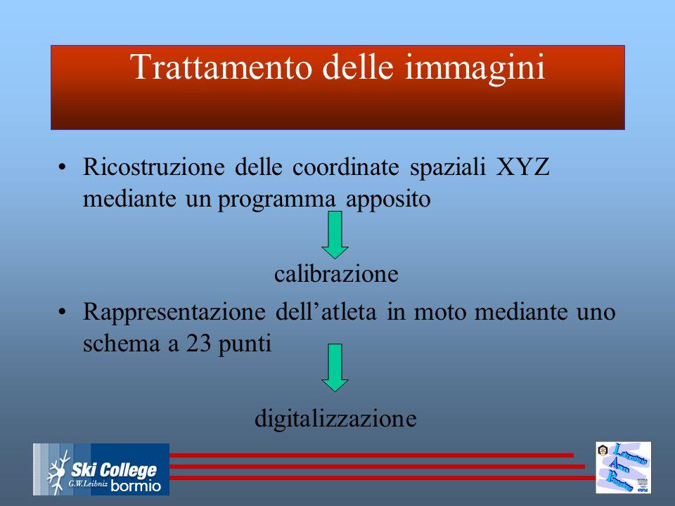 bormio Trattamento delle immagini Ricostruzione delle coordinate spaziali XYZ mediante un programma apposito calibrazione Rappresentazione dell'atleta in moto mediante uno schema a 23 punti digitalizzazione