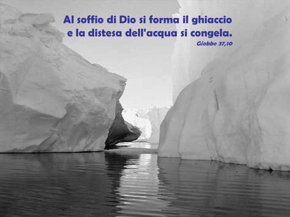 Al soffio di Dio si forma il ghiaccio e la distesa dell'acqua si congela. Giobbe 37,10