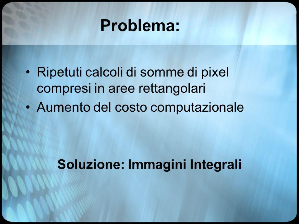 Problema: Ripetuti calcoli di somme di pixel compresi in aree rettangolari Aumento del costo computazionale Soluzione: Immagini Integrali