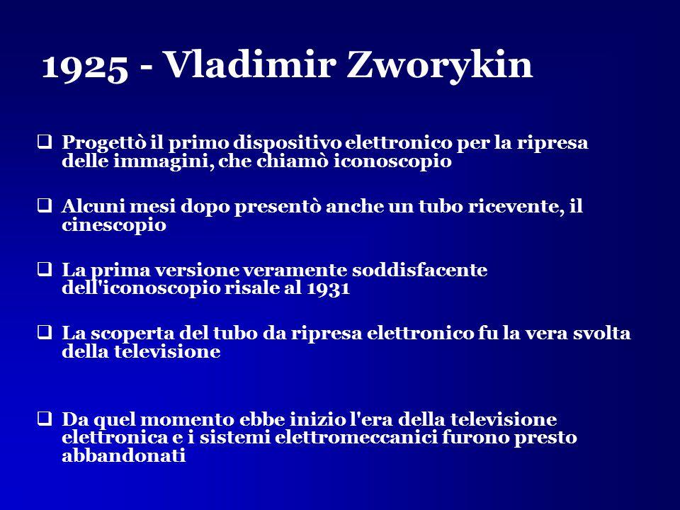 1925 - Vladimir Zworykin  Progettò il primo dispositivo elettronico per la ripresa delle immagini, che chiamò iconoscopio  Alcuni mesi dopo presentò