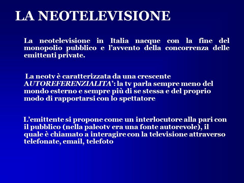 LA NEOTELEVISIONE La neotelevisione in Italia nacque con la fine del monopolio pubblico e l'avvento della concorrenza delle emittenti private. La neot