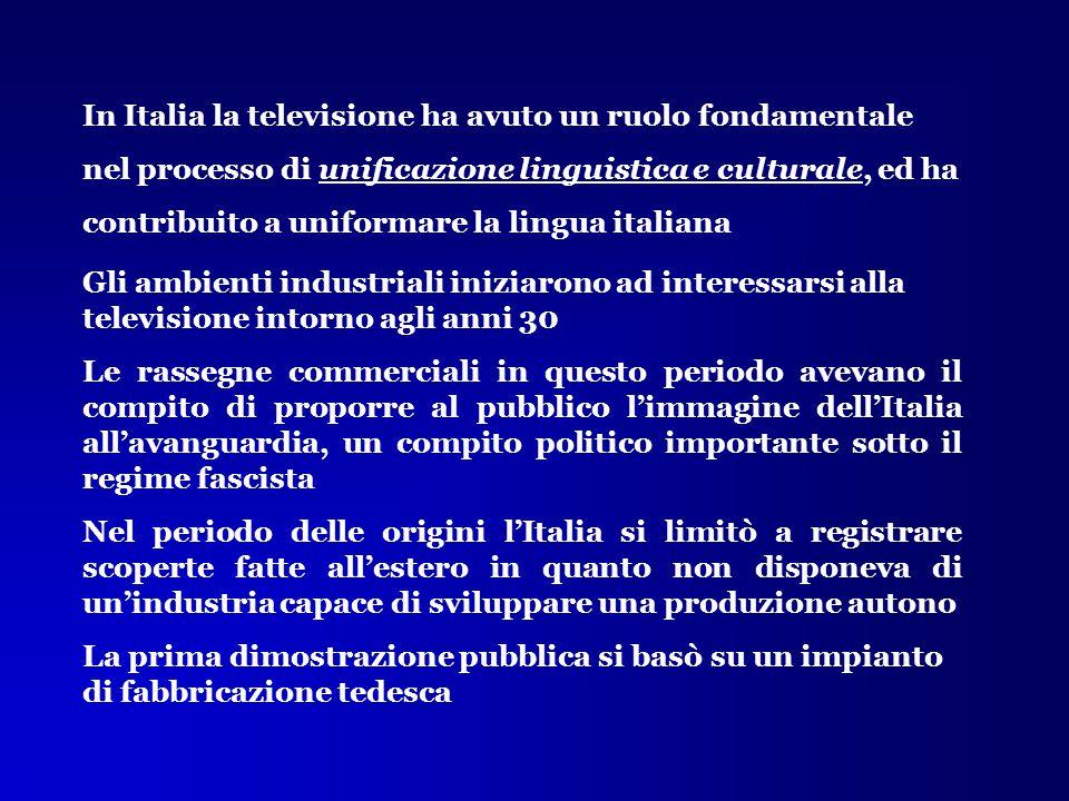 In Italia la televisione ha avuto un ruolo fondamentale nel processo di unificazione linguistica e culturale, ed ha contribuito a uniformare la lingua