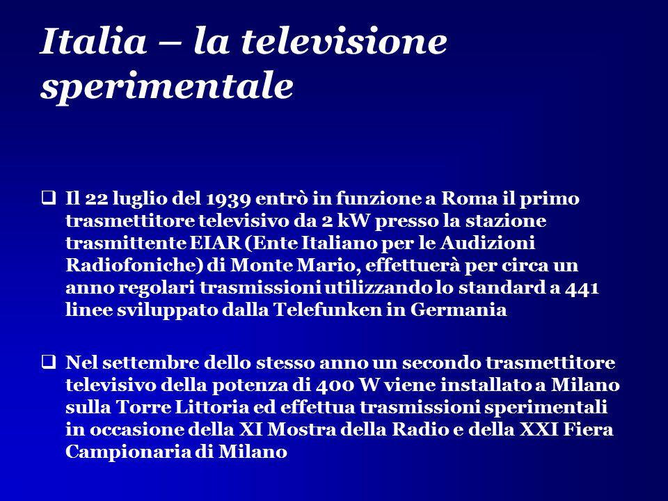 Italia – la televisione sperimentale  Il 22 luglio del 1939 entrò in funzione a Roma il primo trasmettitore televisivo da 2 kW presso la stazione tra