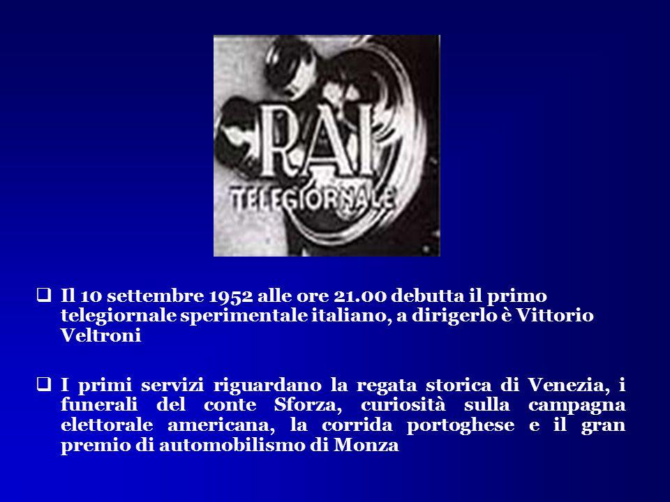  Il 10 settembre 1952 alle ore 21.00 debutta il primo telegiornale sperimentale italiano, a dirigerlo è Vittorio Veltroni  I primi servizi riguardan