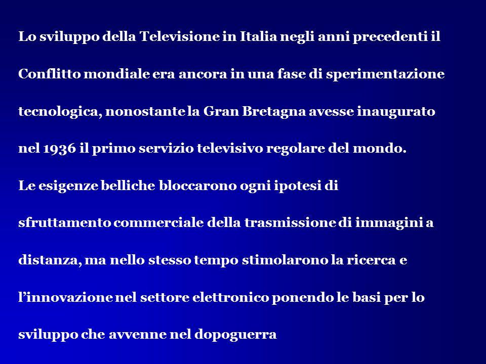 Lo sviluppo della Televisione in Italia negli anni precedenti il Conflitto mondiale era ancora in una fase di sperimentazione tecnologica, nonostante