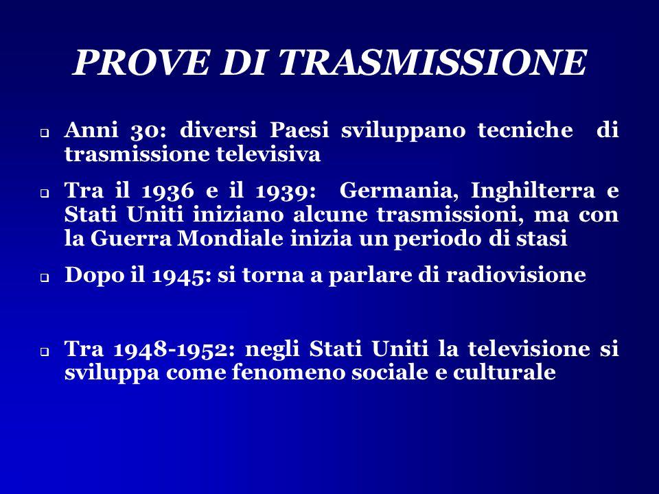 PROVE DI TRASMISSIONE  Anni 30: diversi Paesi sviluppano tecniche di trasmissione televisiva  Tra il 1936 e il 1939: Germania, Inghilterra e Stati U