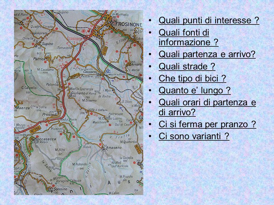Quali punti di interesse ? Quali fonti di informazione ? Quali partenza e arrivo? Quali strade ? Che tipo di bici ? Quanto e' lungo ? Quali orari di p