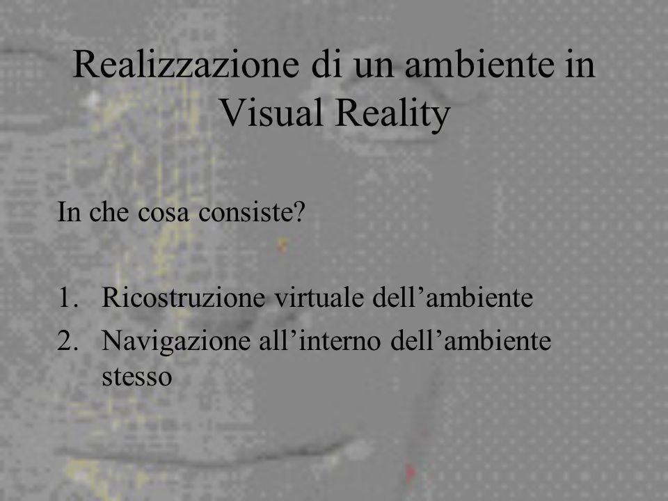 Realizzazione di un ambiente in Visual Reality In che cosa consiste.