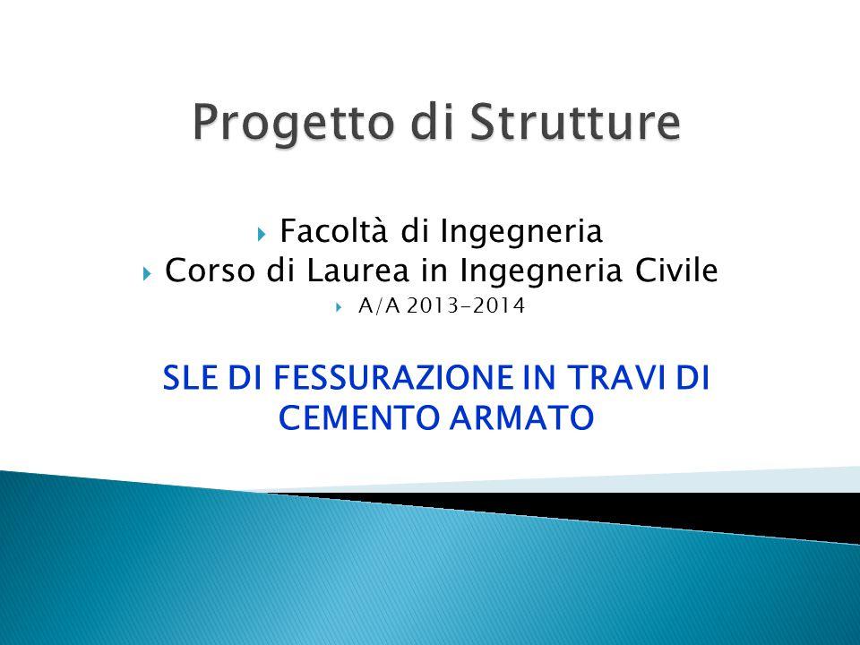  Facoltà di Ingegneria  Corso di Laurea in Ingegneria Civile  A/A 2013-2014 SLE DI FESSURAZIONE IN TRAVI DI CEMENTO ARMATO