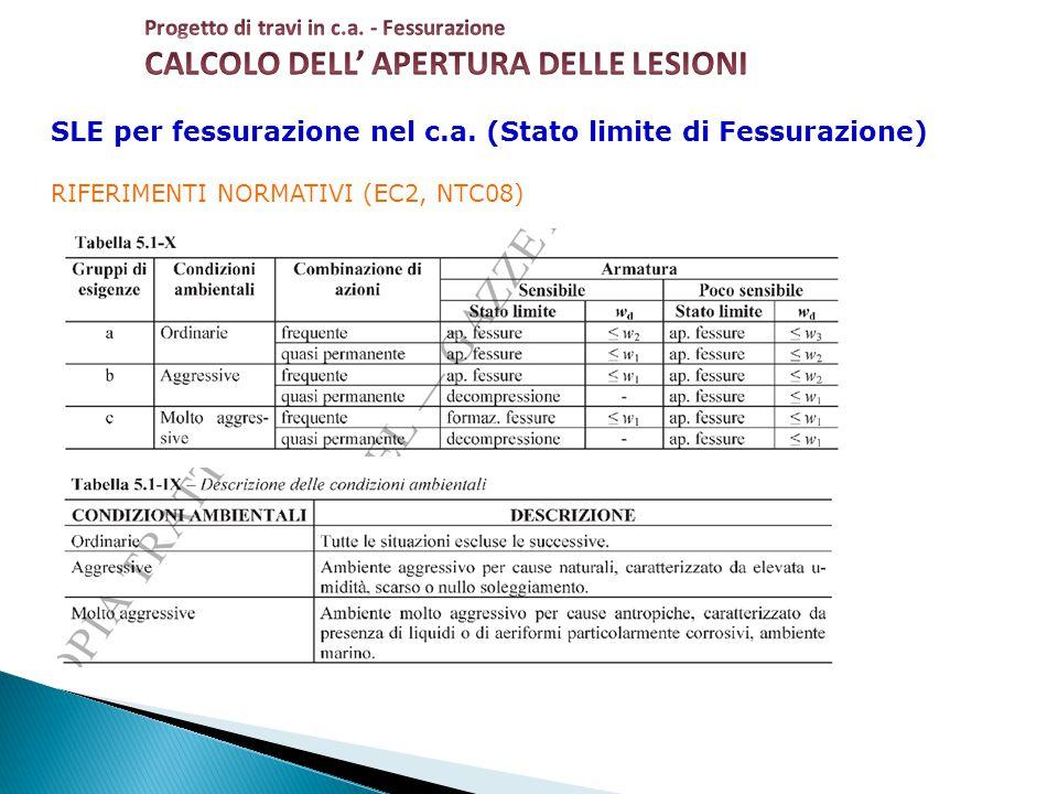SLE per fessurazione nel c.a. (Stato limite di Fessurazione) RIFERIMENTI NORMATIVI (EC2, NTC08)