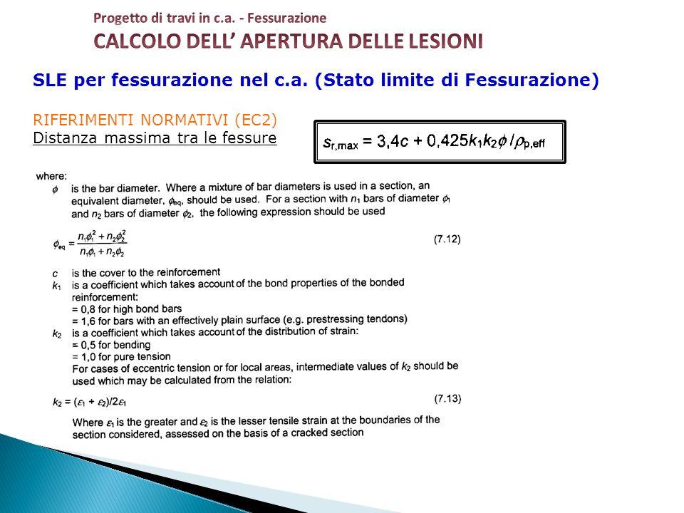 SLE per fessurazione nel c.a. (Stato limite di Fessurazione) RIFERIMENTI NORMATIVI (EC2) Distanza massima tra le fessure